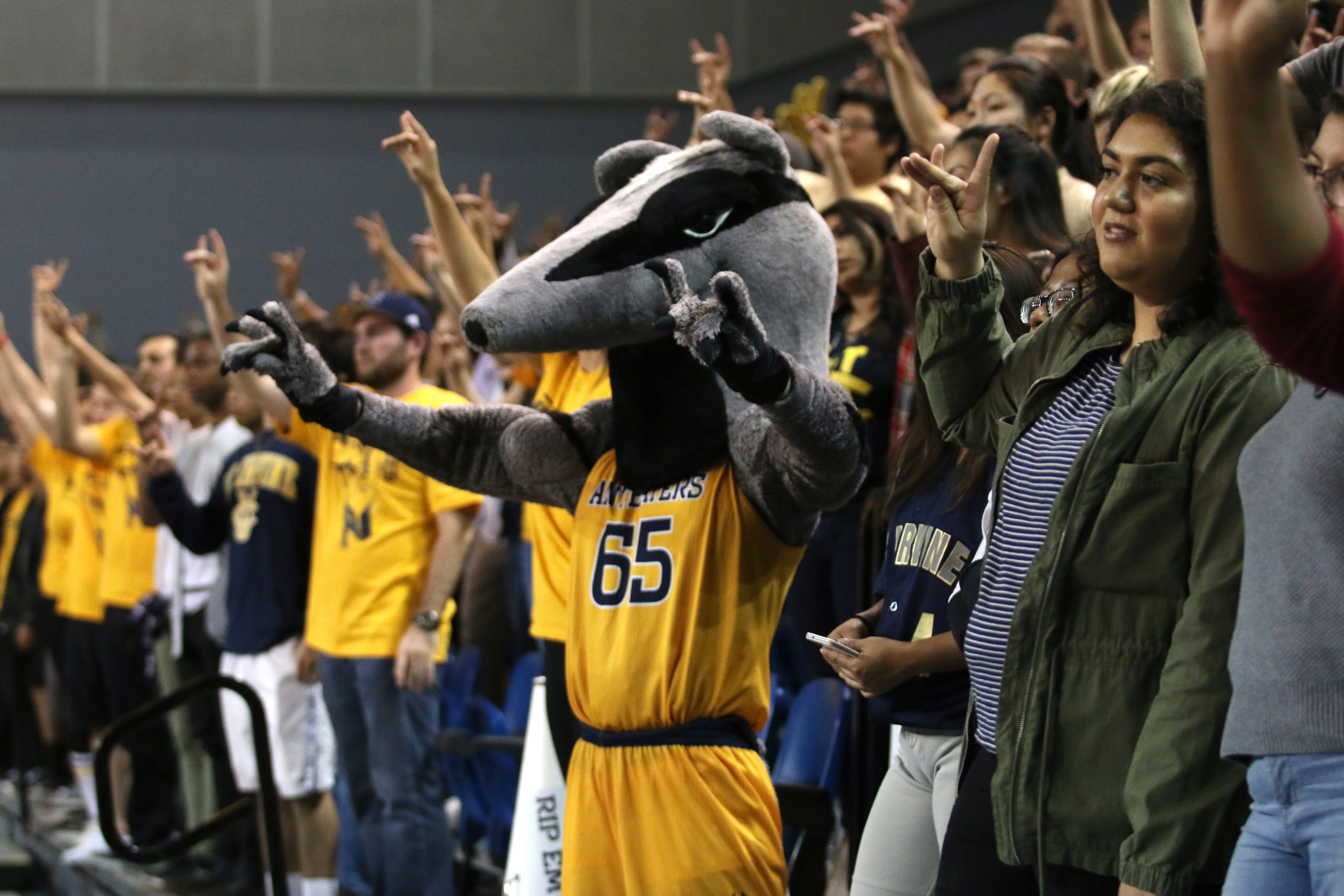 University of California, Irvine's fans cheer at an Anteaters game.